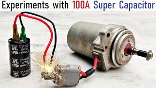 Run 12v 100 Amp Starter DC Motor with 500F Super Capacitor Ultra High Current - 2.7v Green Cap