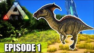 "THE BEGINNING ""Ark Survival Evolved"" 1st Dino Tame!"