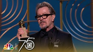 Gary Oldman accepts the award for Best Performance by an Actor in a Motion Picture - Drama at the 75th Annual Golden Globe Awards. » Subscribe for More: ...