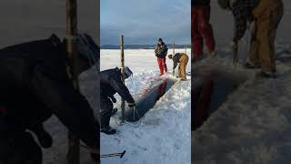 Smelt  fishing with nets  north shore NB, dec 31, 2018