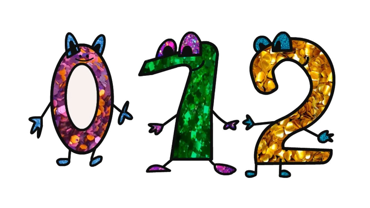 Glitter Numbers Drawing and Coloring How to Draw Numbers for Kids ...