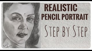 Realistic Pencil Portrait  step by step tutorial / Maharani Gayatri Devi