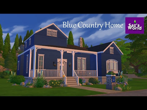 Saz's World | Blue Country House | Sims 4 Speed Build