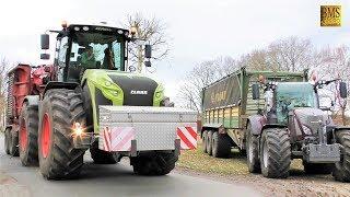 Energieholz häckseln - Claas Xerion 4000 Holzhacker Eschlböck Biber wood chipper Fendt 916 + 724