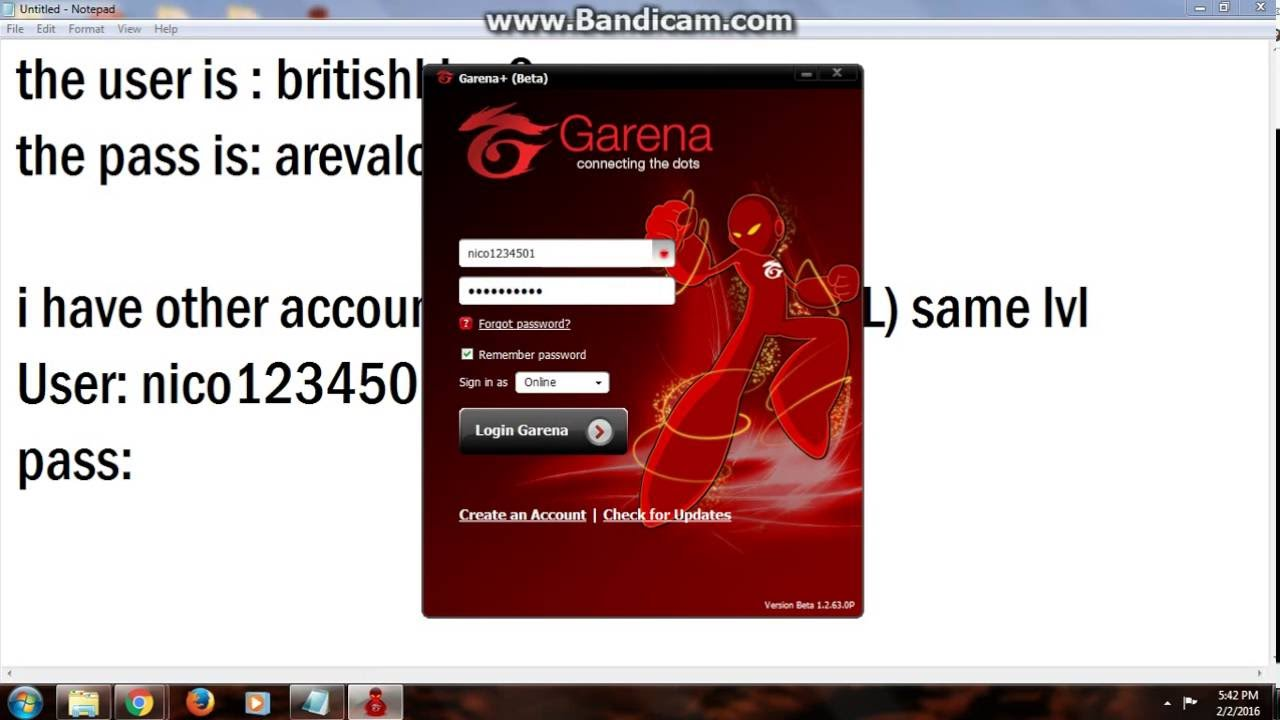 Free Account Garena And League of Legends!