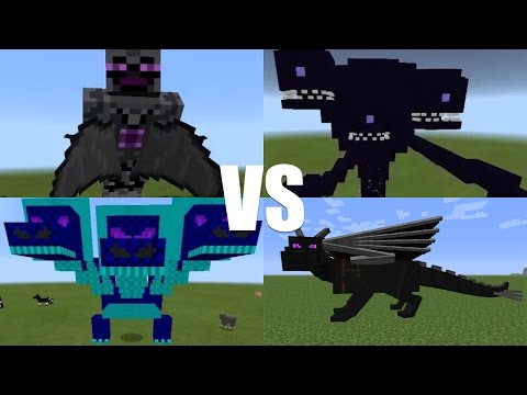 What Happens When You Spawn the Wither Storm, God Boss, Hydra Dragon & Ender Dragon in Minecraft PE?