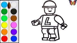 Как нарисовать ЛЕГО ЧЕЛОВЕКА/  раскраска ЛЕГО  для детей / Раскраски малышам