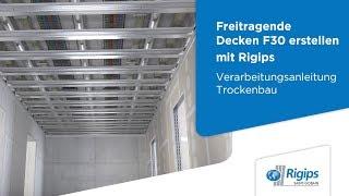 Grundlagen für die Erstellung freitragender Decken F 30 mit Rigips   Verarbeitung Trockenbau