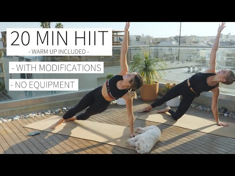 20 MINUTE FULL BODY HIIT - With Modifications, Warmup Included, No Equipment | Dr. LA Thoma Gustin