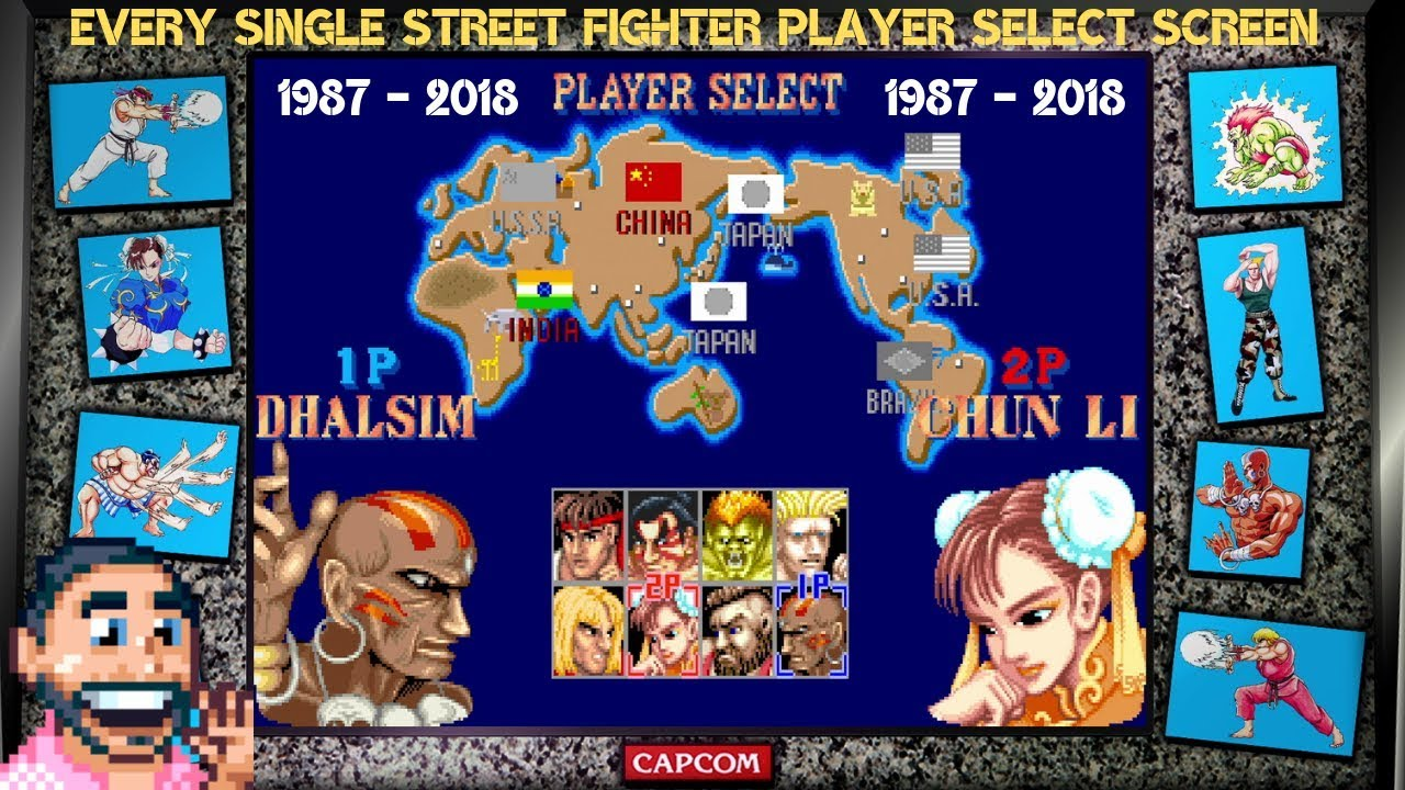 Every Street Fighter Player Select Screen 1987 2018 Youtube