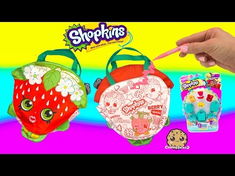 Shopkins Color 'N Fashion 2 Sided Coloring Purse Strawberry Kiss + Season 3 5 Pack Unboxing