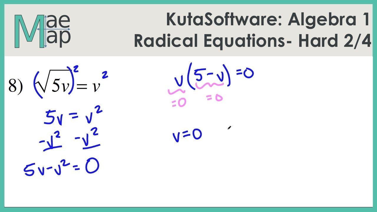 Kutasoftware Algebra 1 Radical Equations Hard Part 2 Youtube