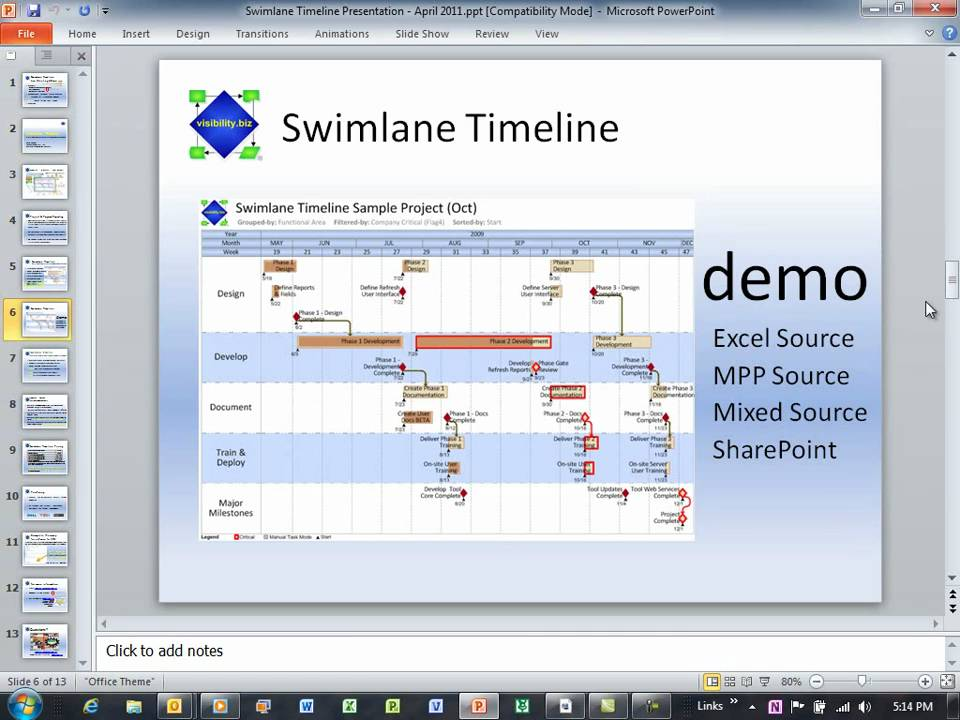 swimlane timeline webcast april      of   excel    swimlane timeline webcast april   part  of   excel milestones and powerpoint  wmv