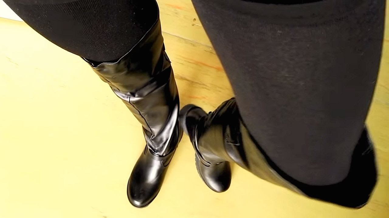 New arrival - Black   shiny over the knee boots - YouTube db3a809984