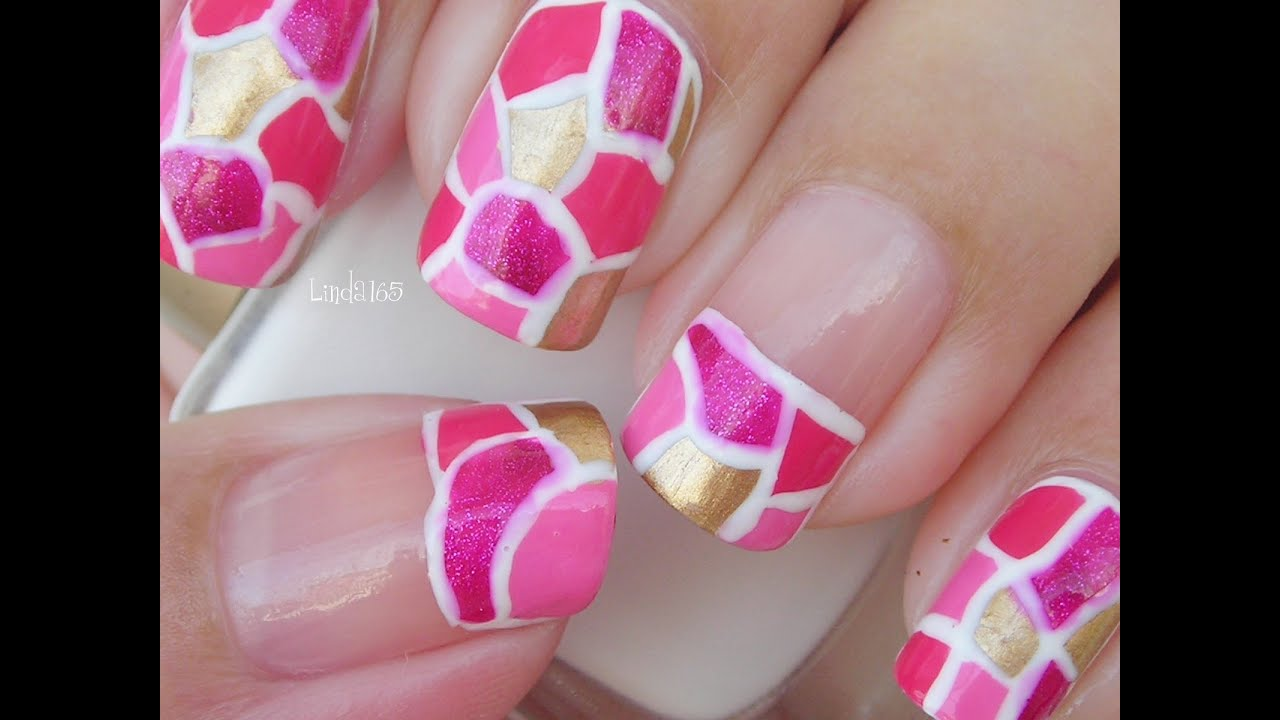Nail Art October In Pink Pink Mosaic Decoraci 243 N De U 241 As Breast Cancer Awareness Month