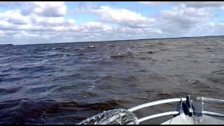 Волна на Рыбинском водохранилище 24 08 2013