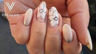 Свадебный маникюр.Нежные цветы. Маникюр. Дизайн ногтей 67