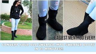 Convert your Old Sweaters into Sweater Boots within 10 Minutes!!