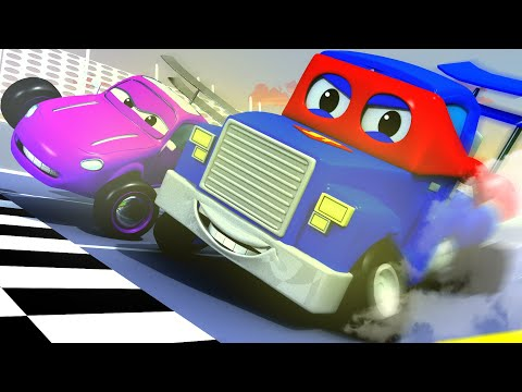 The Racing Car  Carl the Super Truck in Car City Giant Car Monster Trucks Police Cars Chase !!!