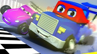 The Racing Car - Carl the Super Truck in Car City Giant Car Monster Trucks Police Cars Chase !!!