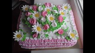 Торт с розами и ромашками