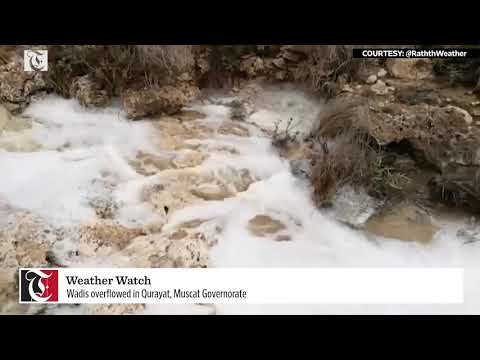 Wadis overflowed in Qurayat, Muscat Governorate
