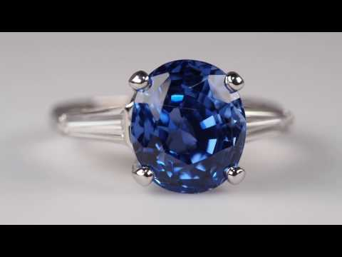 Blue Sapphire Ring Stunning 5+ Carat With Tapered Baguette Diamonds