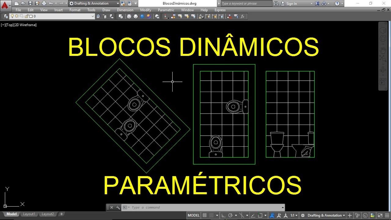 Imagens de #BFBF0C AUTOCAD BLOCOS DINÂMICOS PARAMÉTRICOS (Vaso Sanitário)   1366x768 px 3464 Bloco Autocad Banheiro Vista