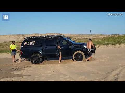 Aussies 'crazy' Attempt To Cross A River In Their 4WD