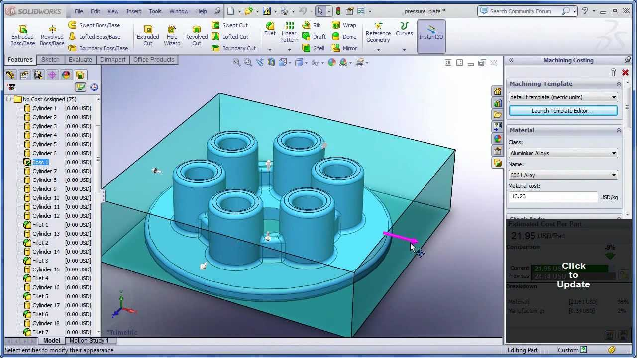 Cost Analysis with SolidWorks 2012 wmv