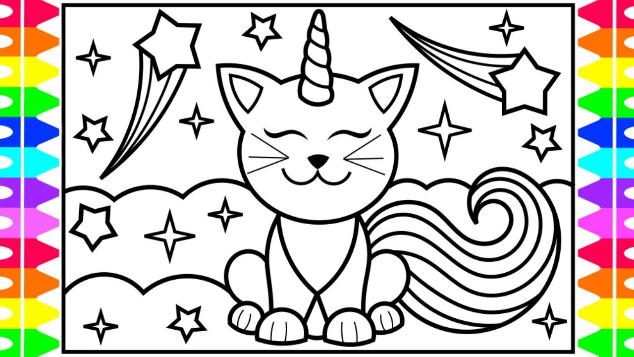 How to Draw a CATICORN for Kids 💜💛💖🌈🌟Caticorn Drawing for Kids | Caticorn  Coloring Pages Kids - YouTube