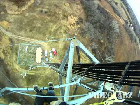 Awesome View from Radio Tower - Climber Wearing a GoPro Camera