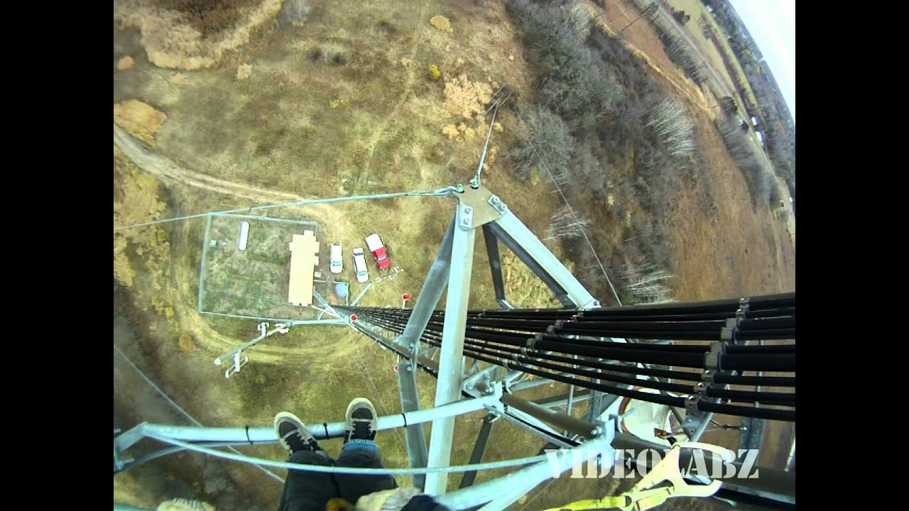 Awesome View from Radio Tower - Climber Wearing a GoPro ...