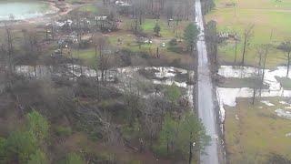 Drone footage: Tornado damage in Bossier Parish