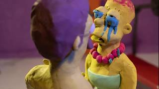 The Simpsons couch gag - part III [FABULOUS SECRET POWERS] | a Stop motion Animation