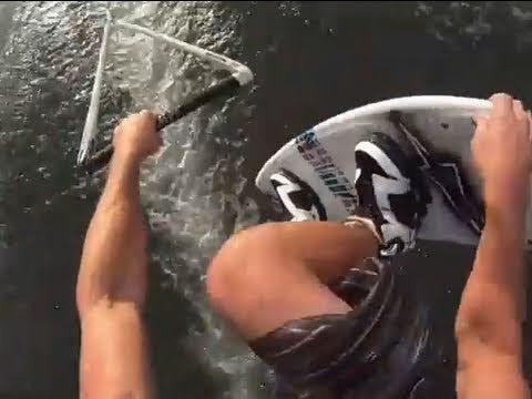 Wakeboarding with GoPro Hero HD helmet/chest harness mount