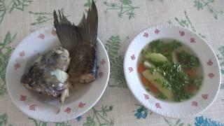 Уха из головы пеленгаса с овощами. Рыбный суп.