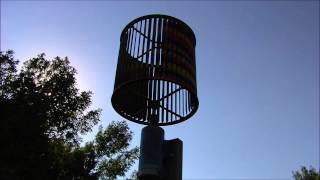 Spinning Squirrel Cage Fan Windmill Spins In 3 M.p.r. Wind