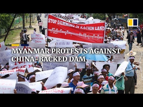 Protest in Myanmar against China-backed Myitsone dam ahead of Aung San Suu Kyi's Beijing trip