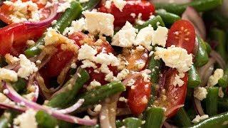 Green Bean Tomato Feta Salad With Lemon Dressing