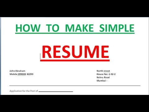 HOW TO MAKE AN EASY RESUME IN MICROSOFT WORD  How To Create A Simple Resume