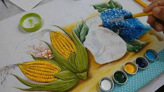 Como pintar Hortênsias azuis