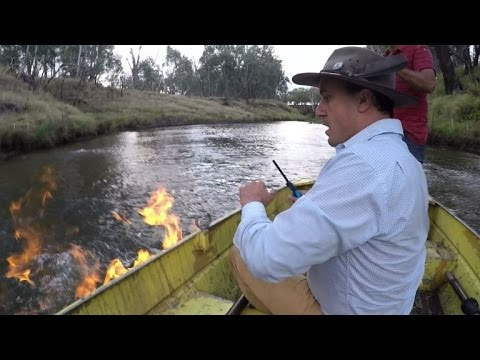 Australian politician sets river on fire to protest fracking