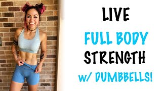 NO REPEAT Full Body Superset STRENGTH ONLY at Home Workout w/ Dumbbells and Bodyweight Movements!