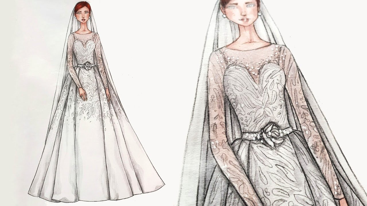 Wedding Dress Fashion Illustration  Menggambar Desain Baju Pengantin 10