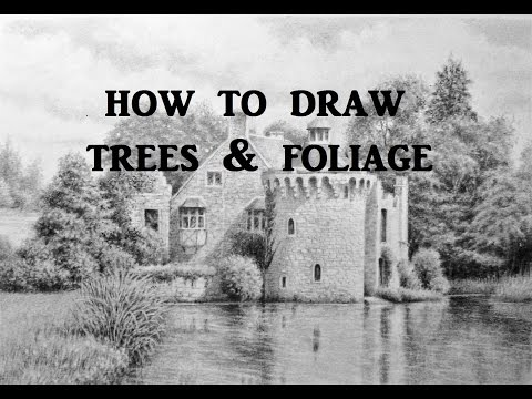 How to Draw Landscapes, Trees, Foliage, Graphite Pencil Drawing Tips
