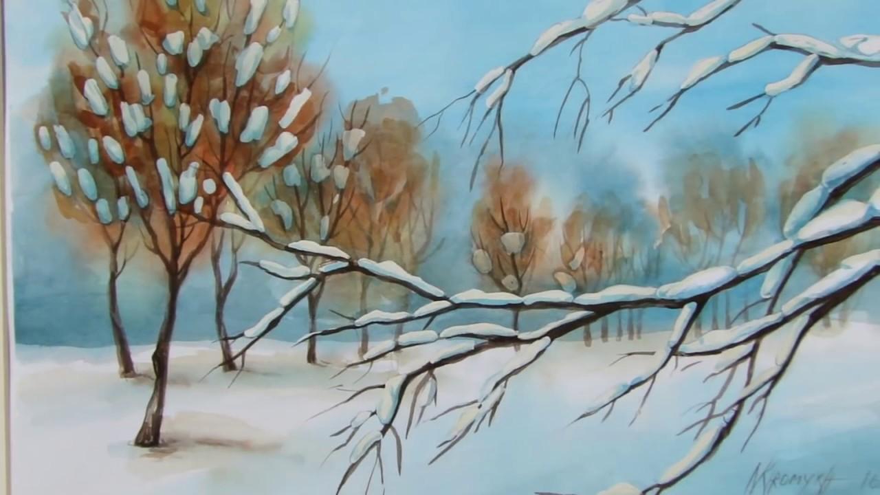 NATALECHRISMAS paesaggio invernale acquarello Masking Fluid winter landscape water color
