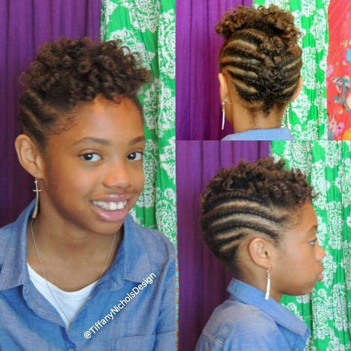 Natural Hairstyle For Kids Flat Twist And Roller Set Hairstyle