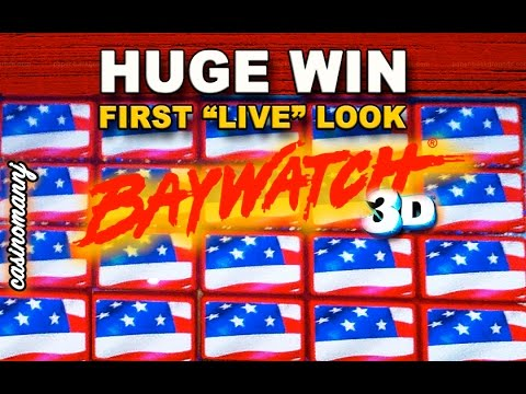 "**HUGE WIN** Baywatch 3D Slot - FIRST ""LIVE"" LOOK - * LIVE PLAY* - Slot Machine Bonus"