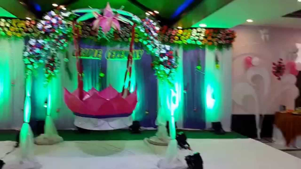 Cradle ceremony decorations hyderabad 8099958524 youtube for Baby namkaran decoration